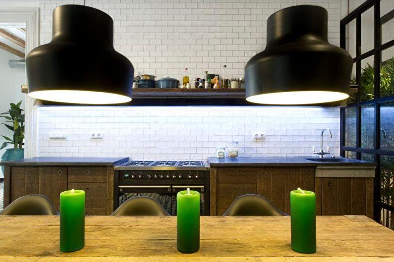Красивые кухни фото - Монохромная кухня в индустриальном стиле