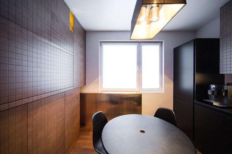 Красивые кухни фото - Минималистичная кухня с золотыми нишами
