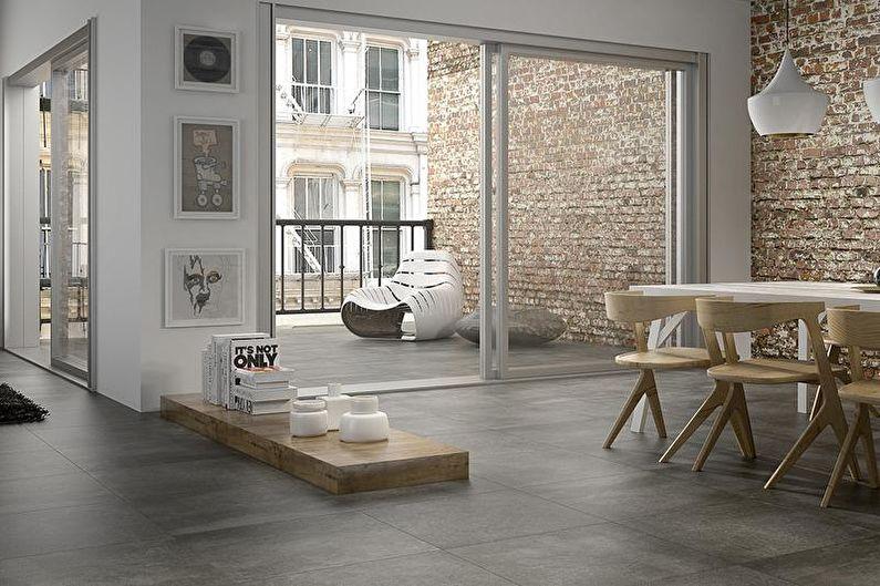 Дизайн интерьера в стиле лофт - Отделка пола