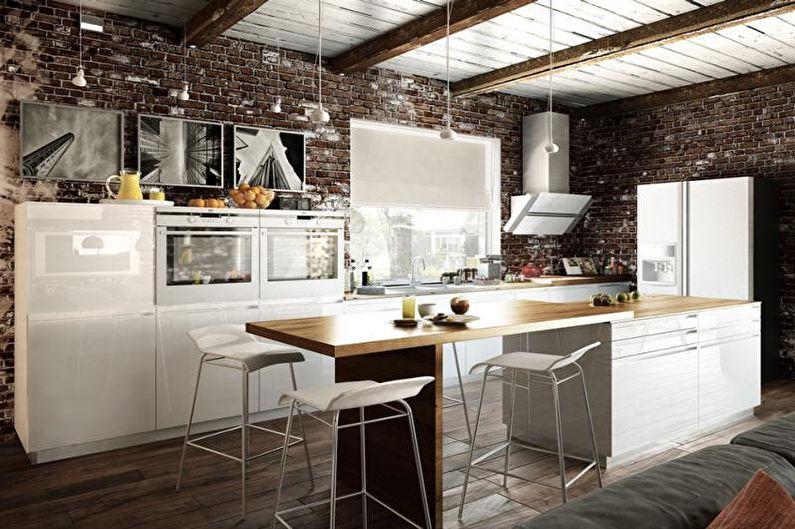 Дизайн интерьера кухни в стиле лофт - фото