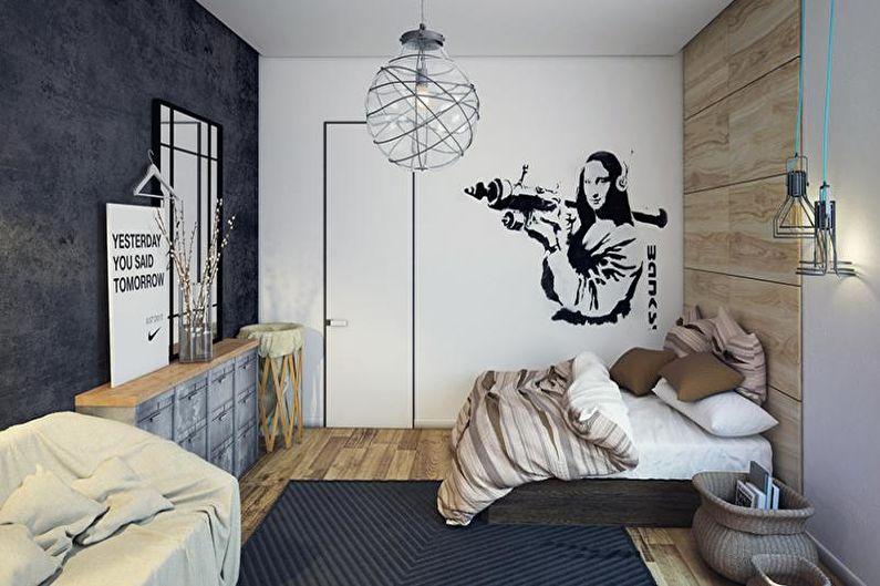 Дизайн интерьера детской комнаты в стиле лофт - фото