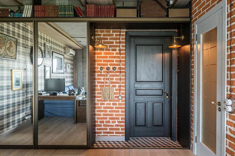 Дизайн интерьера прихожей в стиле лофт - фото