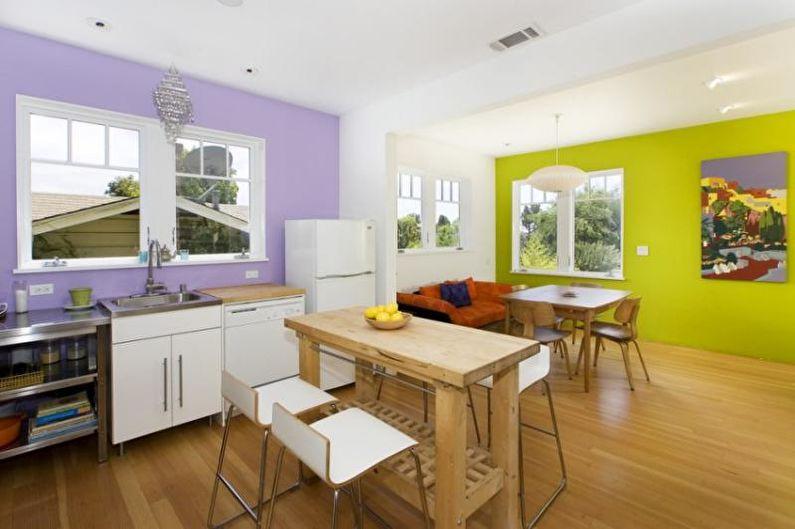 Дизайн кухни-столовой - Зонирование с помощью яркой стены