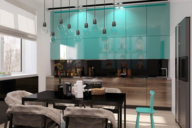 Дизайн кухни-столовой - Зонирование с помощью декора