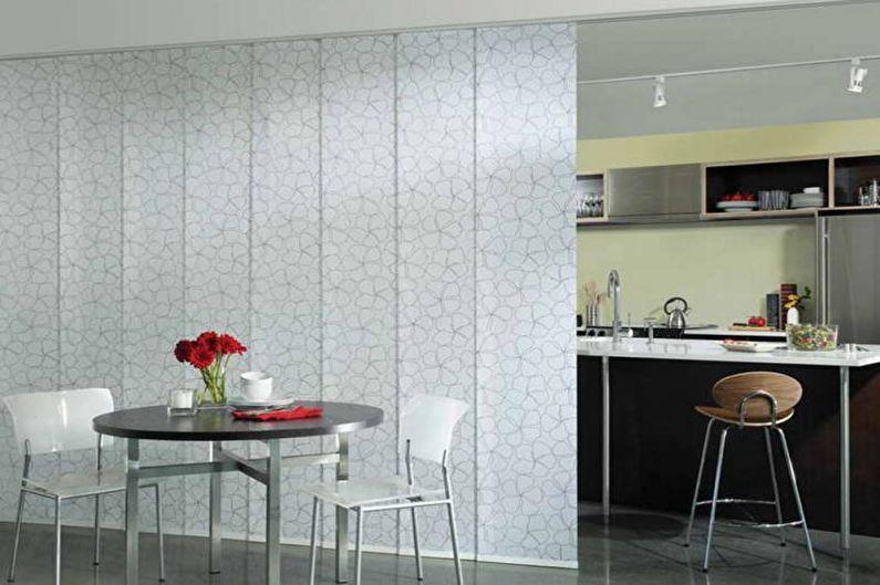 Дизайн кухни-столовой - Зонирование ширмами и дополнительными перегородками