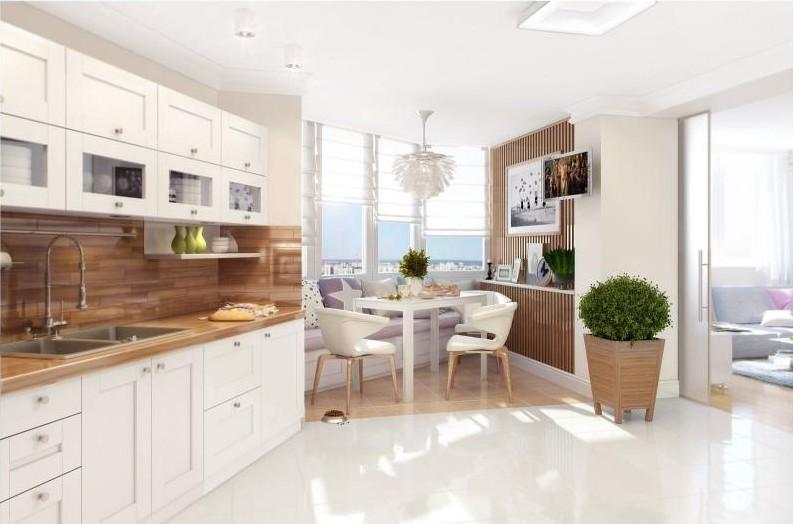 Дизайн кухни-столовой - Зонирование с помощью подиума