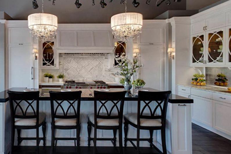 Дизайн кухни-столовой - Зонирование освещением