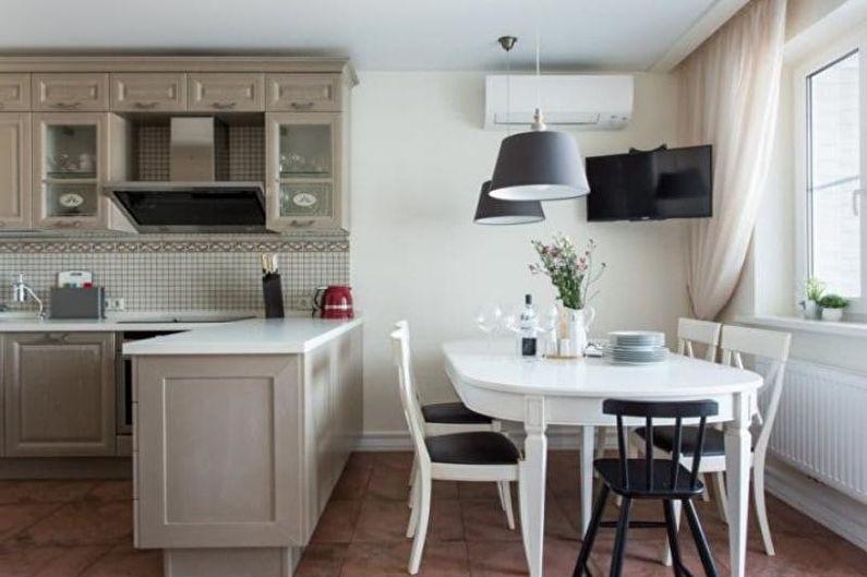 Дизайн кухни-столовой - Зонирование мебелью