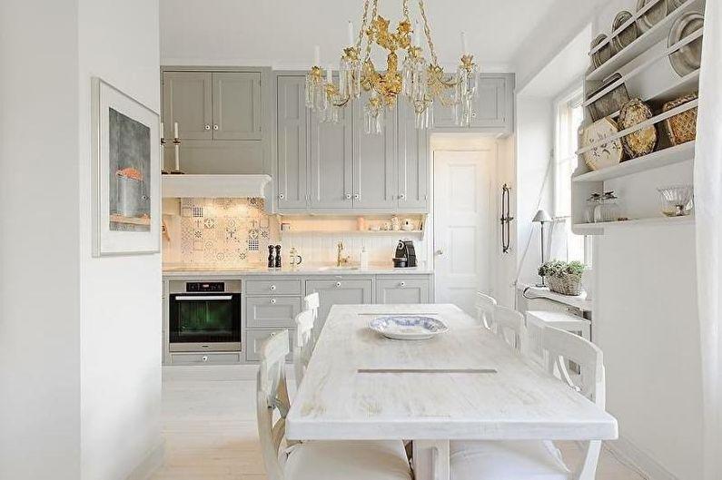 Белая кухня-столовая - Дизайн интерьера