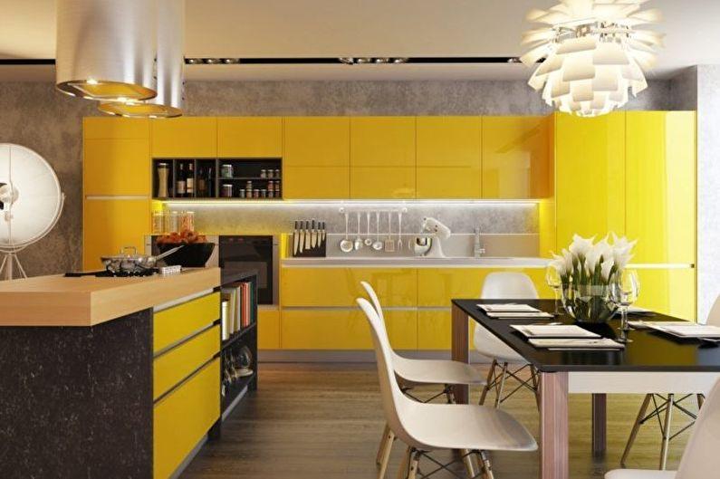 Лимонная кухня-столовая - Дизайн интерьера