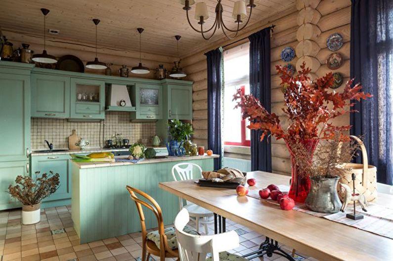 Зеленая кухня-столовая - Дизайн интерьера