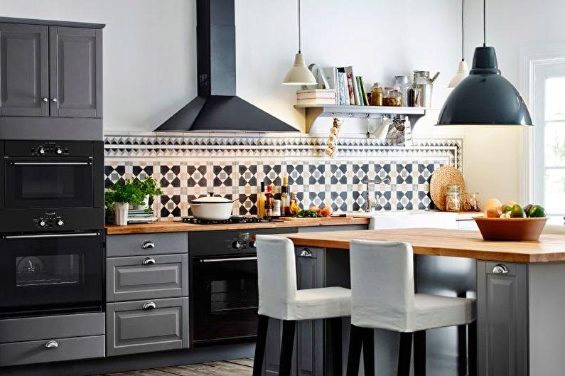 Серая кухня-столовая - Дизайн интерьера