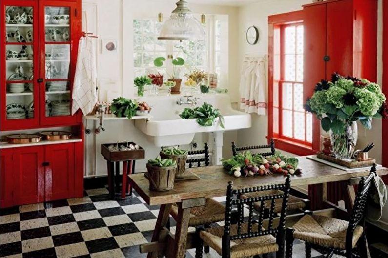 Красная кухня-столовая - Дизайн интерьера