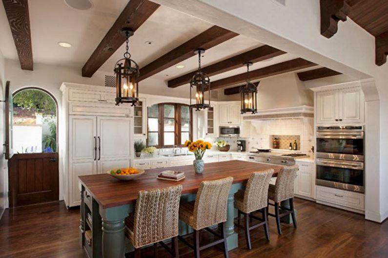 Дизайн интерьера в средиземноморском стиле - Отделка потолка