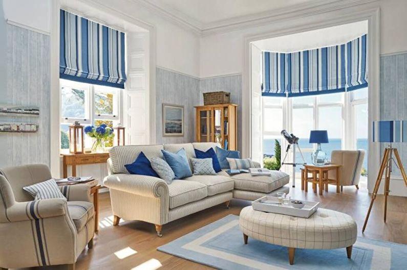 Дизайн интерьера гостиной в средиземноморском стиле - фото