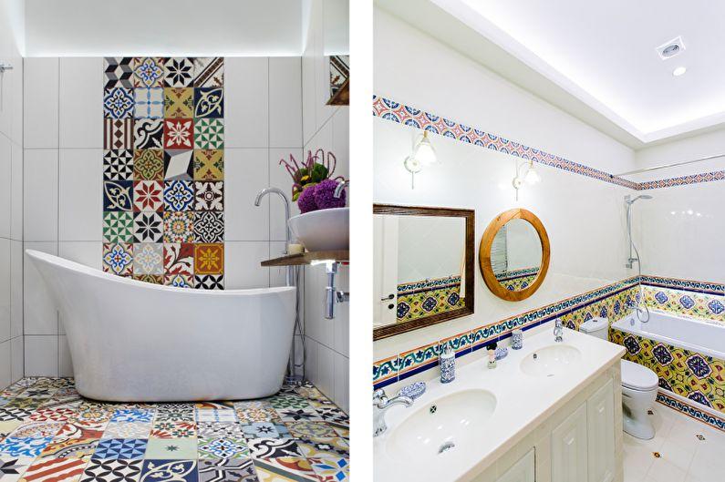 Дизайн интерьера ванной комнаты в средиземноморском стиле - фото
