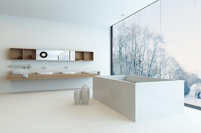 Белая ванная в стиле хай-тек - Дизайн интерьера