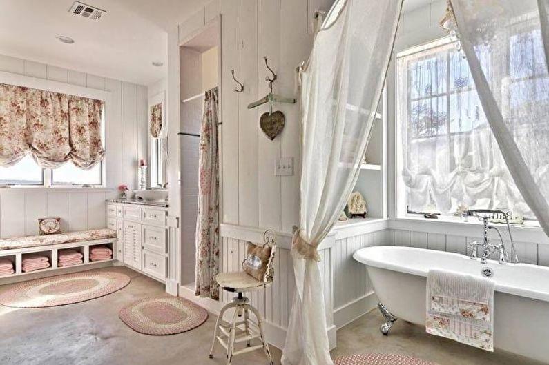 Белая ванная в стиле прованс - Дизайн интерьера