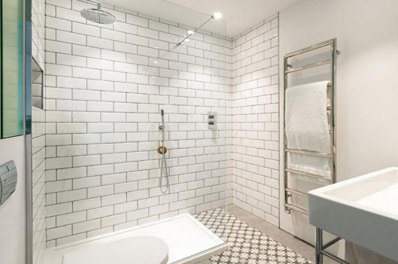 Белая ванная в стиле лофт - Дизайн интерьера