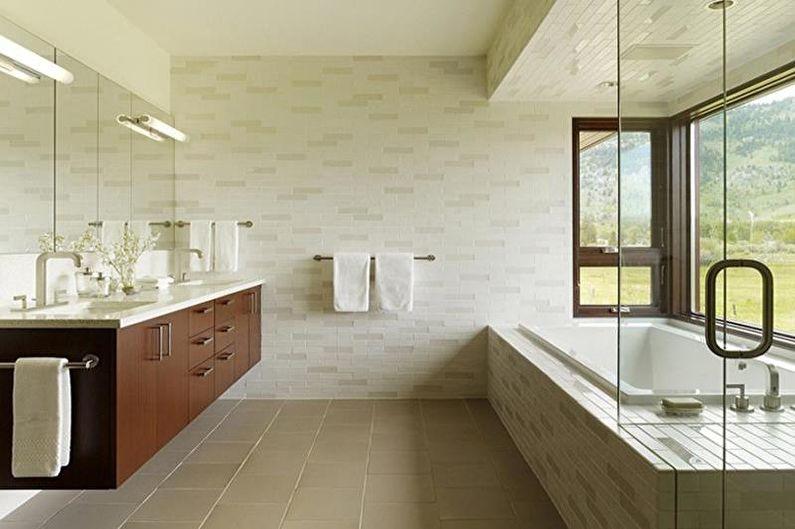 Дизайн белой ванной комнаты - Отделка стен