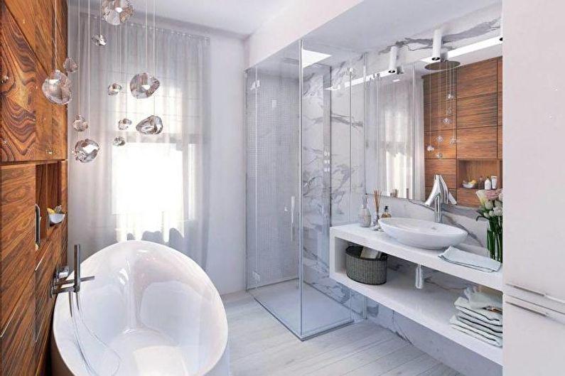Дизайн белой ванной комнаты - Декор