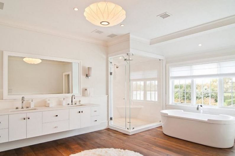 Дизайн интерьера белой ванной комнаты - фото