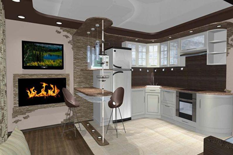 Дизайн кухни-студии - Освещение