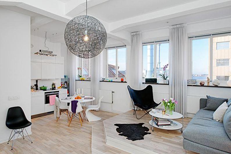 Дизайн кухни-студии - Подиумный пол