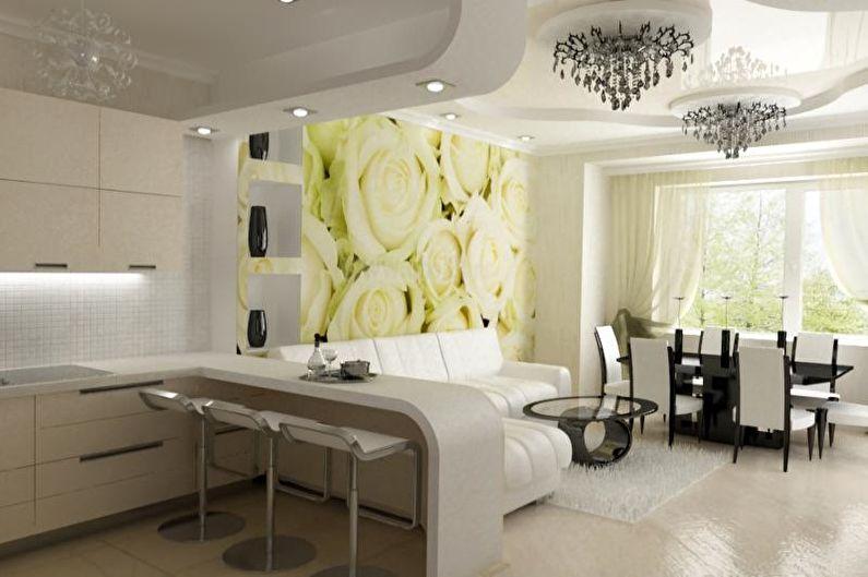 Дизайн интерьера кухни-студии - фото