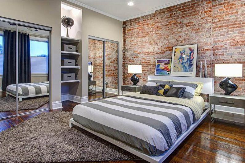 Кирпичная стена в интерьере спальни - фото