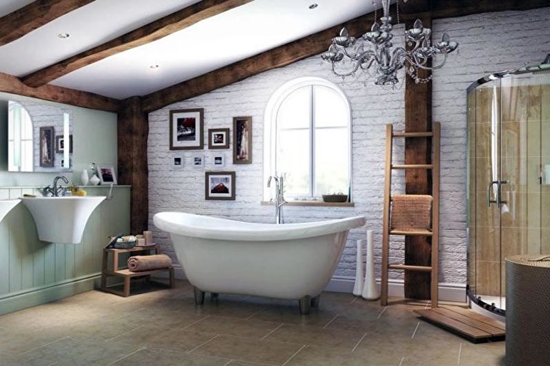 Кирпичная стена в интерьере ванной комнаты - фото