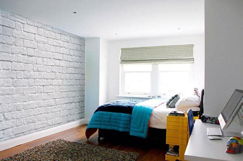 Кирпичная стена в интерьере детской комнаты - фото