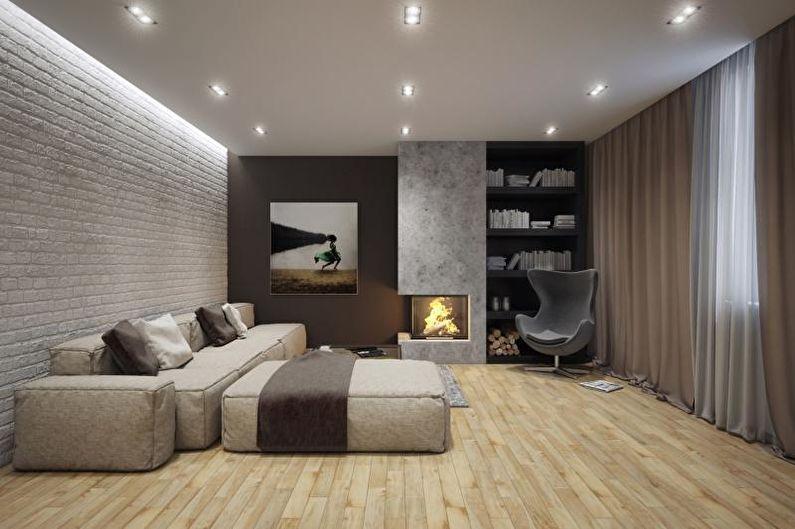 Стиль минимализм в интерьере - Отделка потолка
