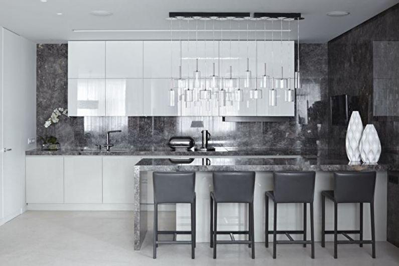 Серая кухня в современном стиле - Дизайн интерьера