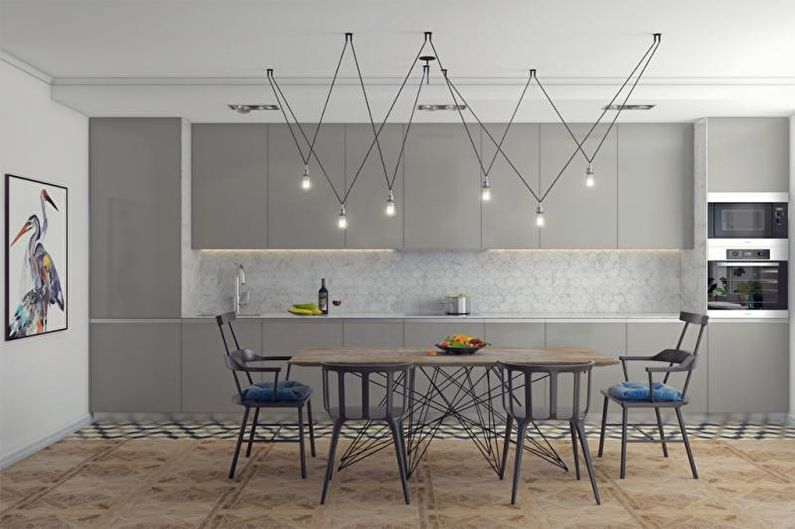 Серая кухня в скандинавском стиле - Дизайн интерьера