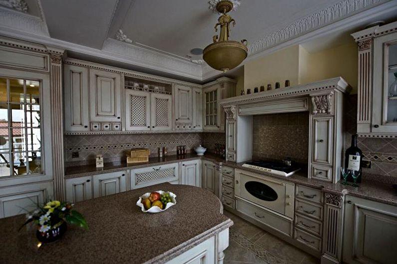 Серая кухня в классическом стиле - Дизайн интерьера