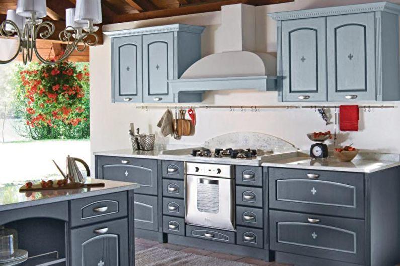 Серая кухня в стиле прованс - Дизайн интерьера