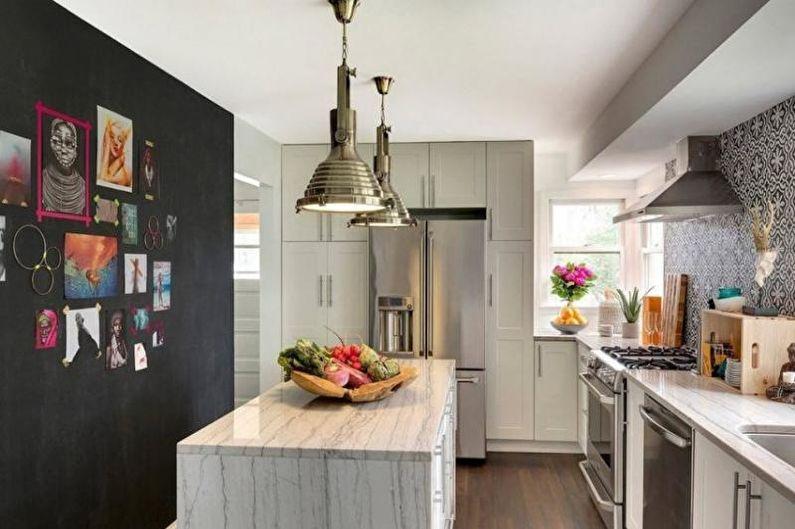 Серая кухня в стиле эклектика - Дизайн интерьера