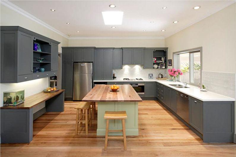 Дизайн серой кухни - Отделка пола