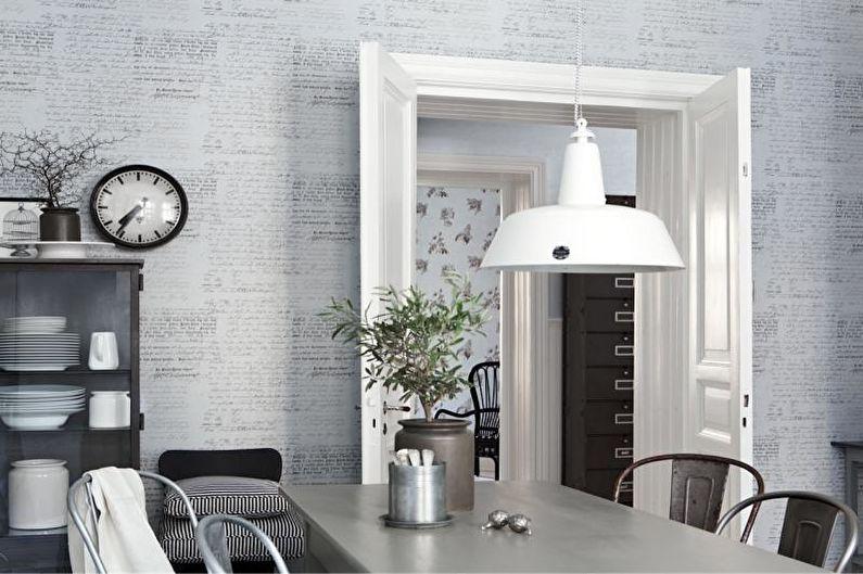 Дизайн серой кухни - Отделка стен