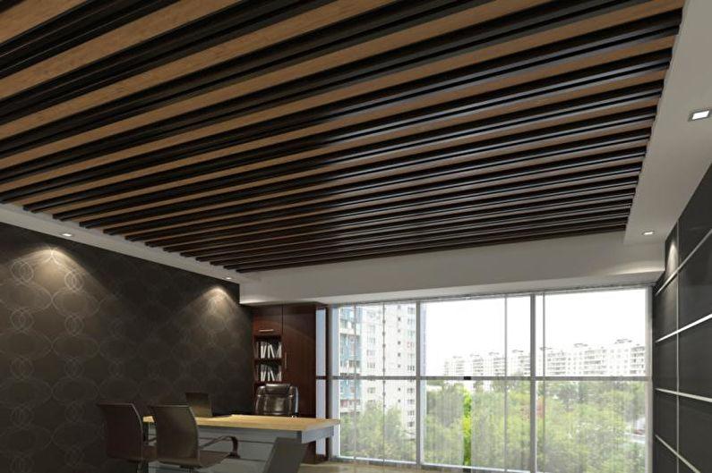 Дизайн серой кухни - Отделка потолка