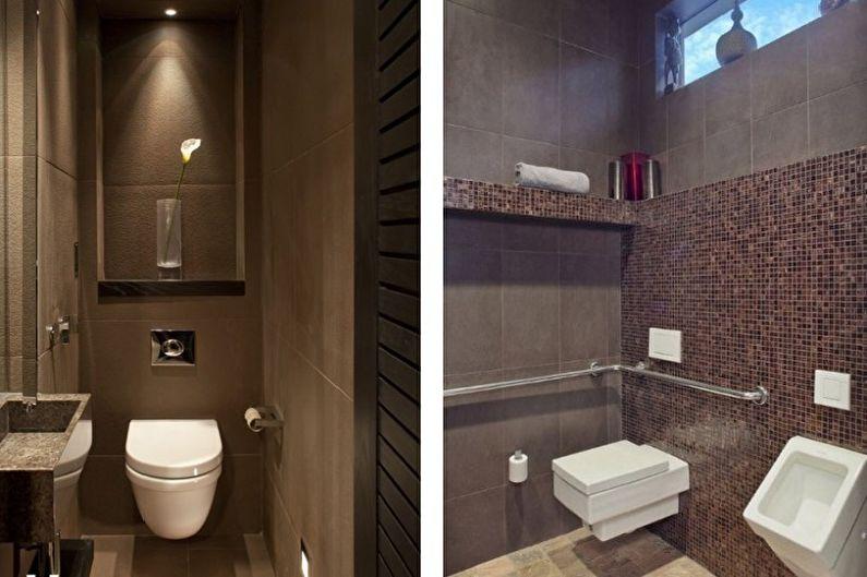 Коричневый маленький туалет - Дизайн интерьера