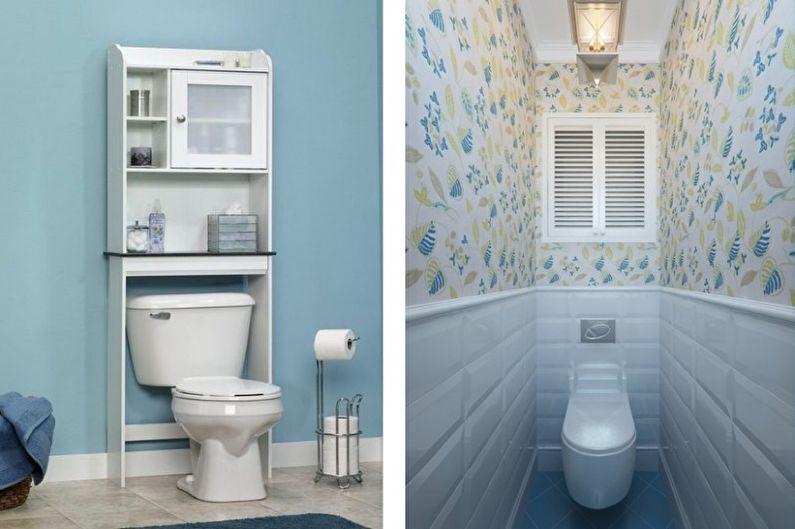 Голубой маленький туалет - Дизайн интерьера