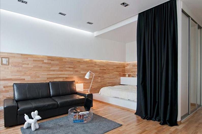 Зонирование комнаты на спальню и гостиную - Текстиль