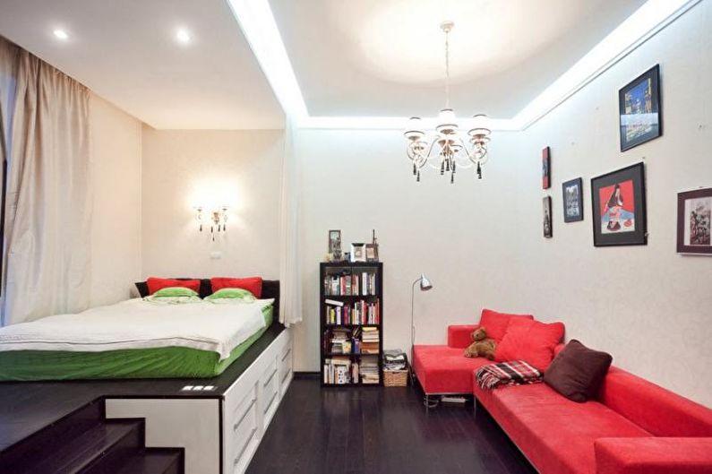 Зонирование комнаты на спальню и гостиную - Подиум