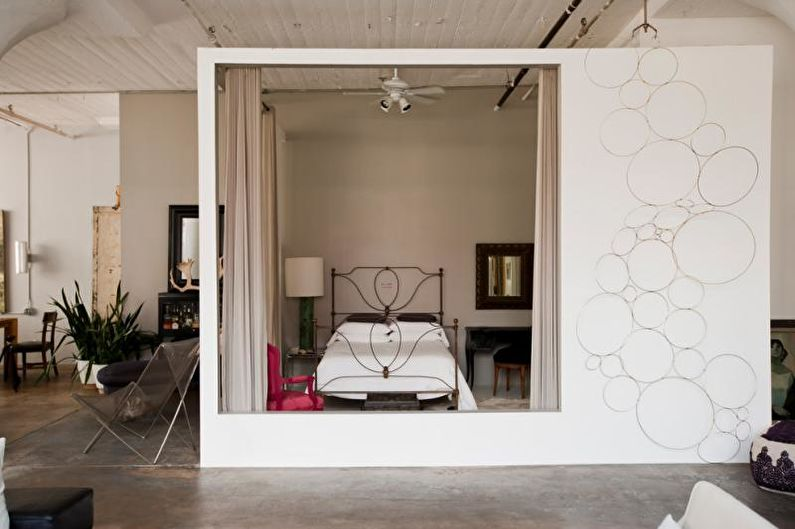 Зонирование гостиной-спальни - фото
