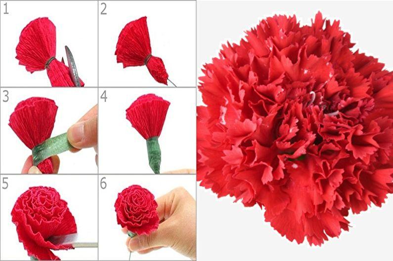 Гвоздики - Цветы из бумаги своими руками