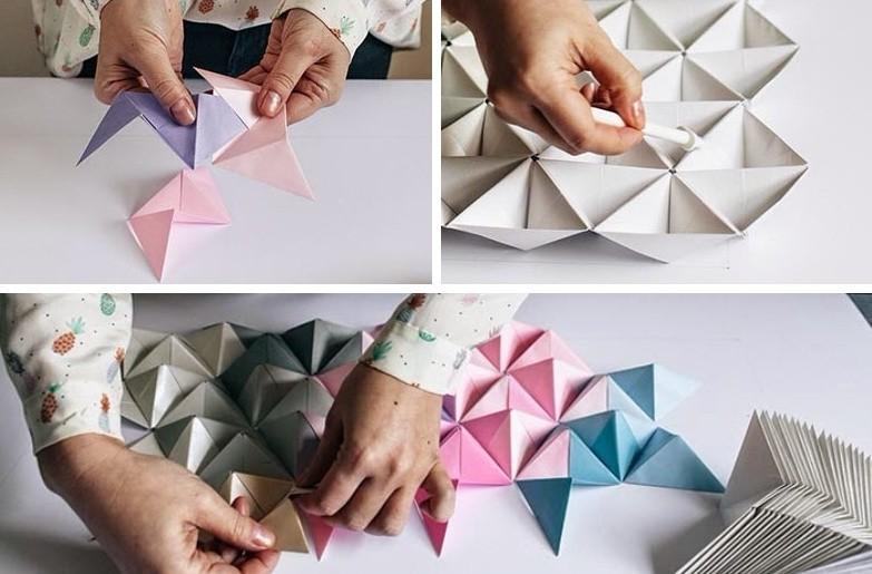 Поделки из бумаги своими руками - Пирамидки для стены
