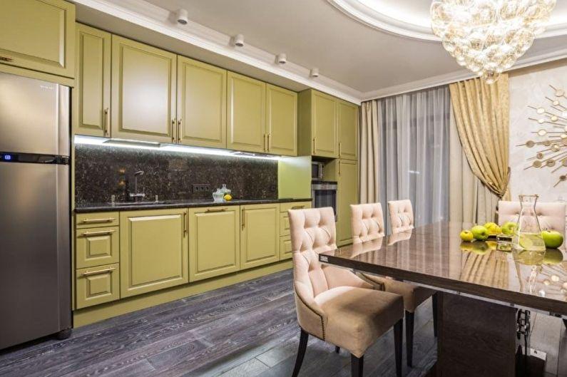 Оливковая кухня в классическом стиле - Дизайн интерьера