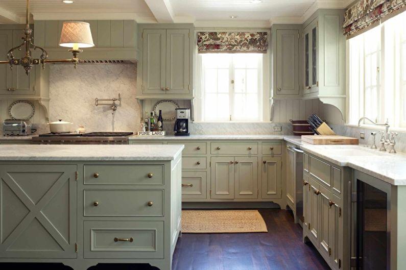 Оливковая кухня в средиземноморском стиле - Дизайн интерьера